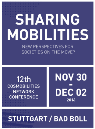 Die Tagung Sharing Mobilities: New perspectives for societies on the move findet vom 30. November 2016 bis zum 2. Dezember 2016 in Bad Boll (Nähe Stuttgart) statt.